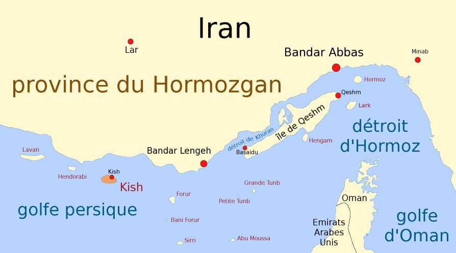 Mapa situación de la isla de Kish en Irán