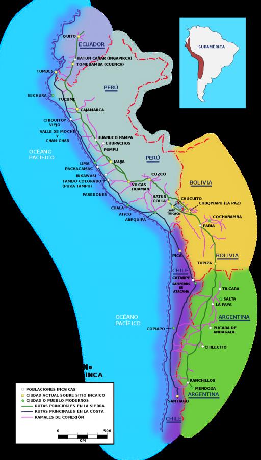 Qhapaq Ñan: mapa de las diferentes rutas